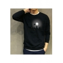 Stylish Long Sleeve Round Neck Castle Moon Printed Black Cotton Sweatshirt for Men