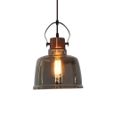 Vintage Ceiling Pendant 1 Light Gray/Amber Glass Pot Cover Shape in Polished Brass for Dining Room