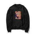 Letter REBEL Painting Figure Printed Round Neck Long Sleeve Regular Sweatshirt