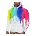 New Trendy 3D Ink Painting Printed Long Sleeve Regular Fitted Men's Hoodie