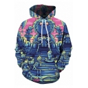 Trendy 3D Cartoon Character Pattern Long Sleeve Unisex Blue Hoodie