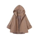 Winter's New Fashion Long Sleeve Hooded Contrast Trim Woolen Cape Coat