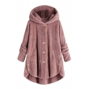 Winter's New Arrival Long Sleeve Hooded Button Front High Low Hem Solid Fleece Coat