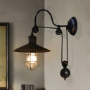 Industrial Style Adjustable 1 Light Wall Sconce in Black with Wire Guard Farmhouse Study Room Lights