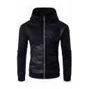 Hooded Long Sleeve Trendy PU Patched Slim Fitted Black Zip Up Coat