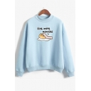 Funny Cartoon Letter FIVE MORE MINUTES Printed Long Sleeve Mock Neck Hoodie