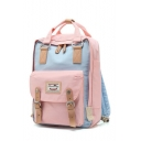 Stylish Buckle Design Color Block Cute Casual Backpack School Bag for Juniors
