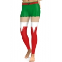 Digital Christmas Red and Green Pattern Elastic Sports Leggings