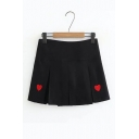 Girls' Lovely Red Heart Embroidered Mini A-Line Pleated Skirt