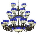 Mediterranean Style 3-Tier Dark Blue Stained Glass Chandelier for Hotel Lobby