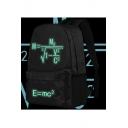 Fashion Luminous Green Einstein Relativistic Formula Printed Black Schoolbag