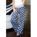 Classic Polka Dot Pattern Elastic Tied Waist Loose Fitted Casual Culottes Pants for Women