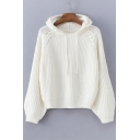 Chic Pearl Embellished Long Sleeve Loose Leisure Hooded White Sweater