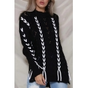 Contrast Lace-Up Embellished Mock Neck Long Sleeve Slit Side Hollow Out Sweater