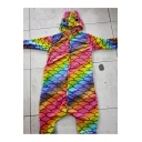 Trendy Color Block Long Sleeve Button Front Fish Scale Unicorn Onesie Pajamas