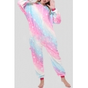 Pink and Blue Star Printed Pegasus Cosplay Unisex Fleece Onesie Pajamas