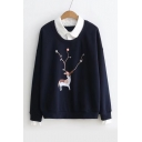 Patched Lapel Collar Long Sleeve Pompom Embellished Deer Printed Sweatshirt