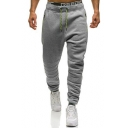 New Arrival Trendy Contrast Drawstring Waist Zip Side Embellished Sports Sweatpants