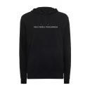 TREAT PEOPLE WITH KINDNESS Letter Pattern Black Regular Hoodie