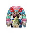 Funny 3D Ice Cream Dog Print Round Neck Long Sleeve Color Block Sweatshirt