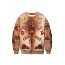 Trendy 3D Christmas Pattern Round Neck Long Sleeve Brown Regular Fitted Sweatshirt
