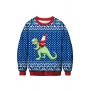 3D Santa Claus Geometric Printed Round Neck Long Sleeve Blue Sweatshirt