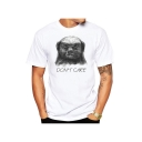 DON'T CARE Cartoon Character Pattern Crewneck Long Sleeve White T-Shirt