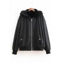 Winter's Long Sleeve Simple Solid Hooded Zip Up Casual Coat
