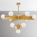 Post Modern Designers Lighting Brass LED Chandelier 10/18 Light Frosted Glass Ball Chandelier for Living Room