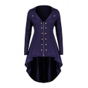 Notched Lapel Collar Long Sleeve Button Embellished Swallowtailed Longline Zip Up Coat