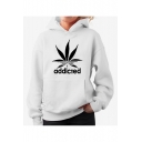Classic ADDICTED Letter Printed Long Sleeve Loose Unisex Hoodie