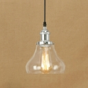 Industrial Style Single Pendant Lamp with Clear Glass Cucurbit Shade for Dining Room