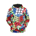 Fashion 3D Magic Cube Pattern Long Sleeve Unisex Casual Hoodie