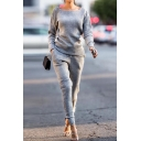 Women's Long Sleeve Basic Solid Casual Sports Ribbed Knit Outfits Co-ords