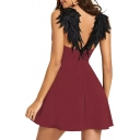 Unique Feather Wing Open Back Mini A-Line Burgundy Slip Dress for Women