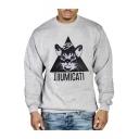 Cartoon Cat Letter ILLUMICATI Pattern Crewneck Long Sleeve Gray Sweatshirt for Men