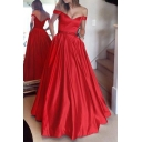 Ladies' Chic Plunge Neck Off the Shoulder Maxi Solid Fit and Flared Pleated Evening Dress