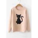 Funny Cartoon Cat Pattern Loose Long Sleeve Crewneck Sweater for Girls