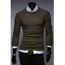 Men's Chic Patched Shoulder Round Neck Long Sleeve Basic Slim Fitted Sweater
