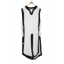 Unique Middle Age Costume V-Neck Sleeveless Lace-Up Side Color Block Tunic Tank Top
