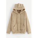 Lovely Rabbit Ear Design Long Sleeve Elastic Cuff Loose Fit Camel Hoodie