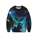 Stylish 3D Blue Christmas Cat Pattern Round Neck Long Sleeve Pullover Sweatshirt