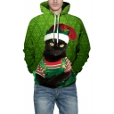 3D Cartoon Cat Printed Loose Leisure Green Hoodie for Couple