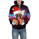 Christmas Dog Pizza Galaxy Printed Sports Regular Fit Purple Hoodie