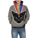 3D Black Cat Printed Long Sleeve Unisex Sports Leisure Hoodie