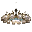 Lodge Style Elk Pattern House Shape Glass Shade Chandelier with Blue Checkered Center Bowl