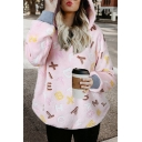 Winter's Stylish Letter Pattern Long Sleeve Loose Casual Fleece Hoodie