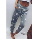 Star Pattern Elastic Drawstring Waist Casual Loose Fitted Sports Sweatpants