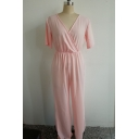 Plunge Neck Short Sleeve Loose Fitted Wide Legs Pink Jumpsuits