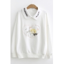Bear Heart Printed Long Sleeve Peter-Pan Collar Sweatshirt for Juniors